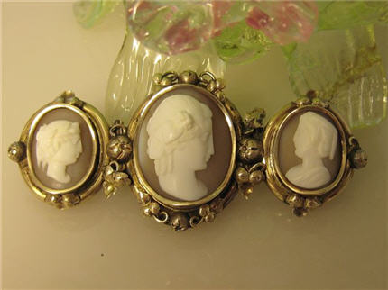 Victorian Jewelry Franklin TN LS8465 Exceptional Victorian Gold Filled Shell Carved Cameo Bar Pin $395.00