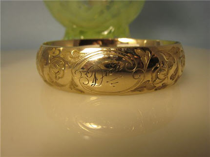 LS8172 Wide Antique Gold Filled Hand Engraved Bracelet. $148.