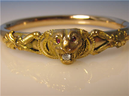 Victorian Jewelry Nashville Tennessee LP188, Georgeous Victorian Gold Filled Lion Head Bangle With Ruby Eyes and A Diamond in The Mouth. $395