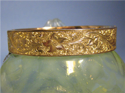 Victorian Jewelry Nashville TN LS7021 Victorian 10K Gold Filled Engraved Floral Design Bangle Bracelet. $180.