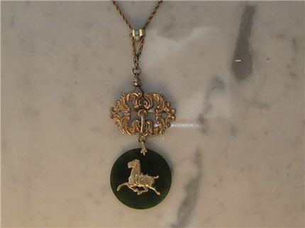 L786 This Intriguing Vintage Gold Filled Opal Slide Chain and Fob With A 14k Jade Horse Pendant. L786 $348.00