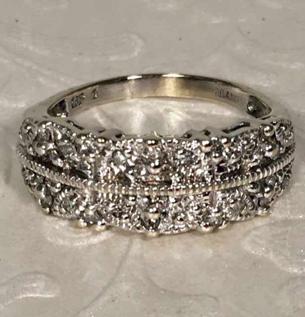lovely estate 14k white gold diamond wedding band size 7 34 - Estate Wedding Rings